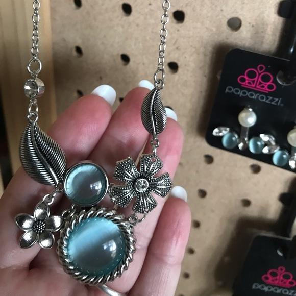 Silver w/blue milky moonstones & silver floral